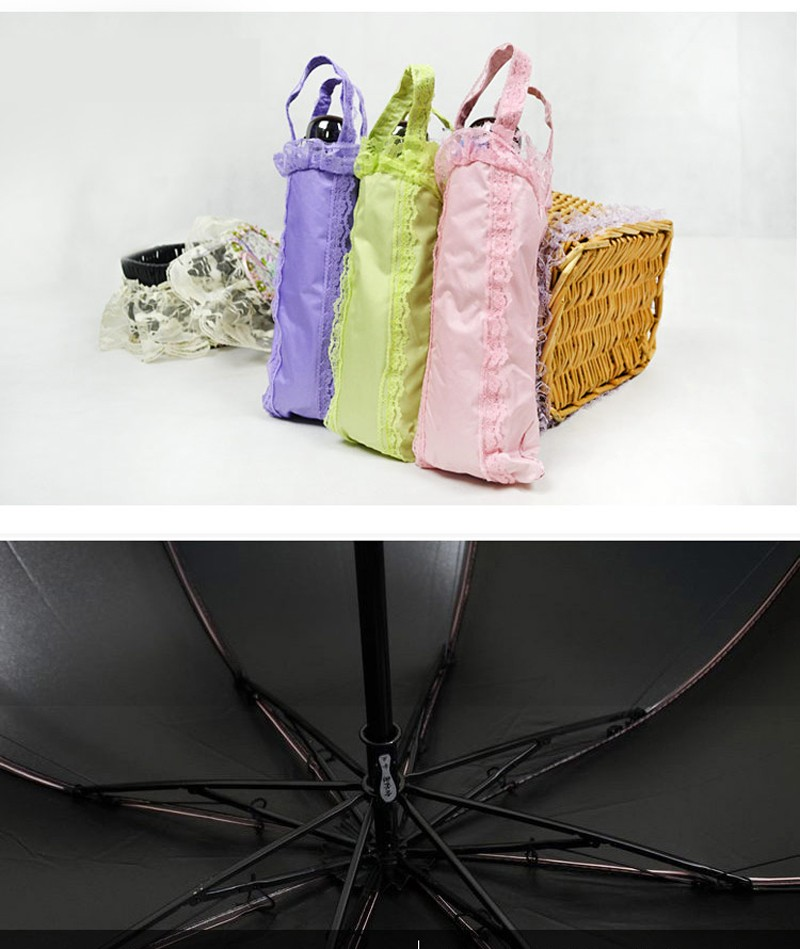 New Creative Lace Girls Umbrella Rain Women Three Fold Umbrella 8-Rib Windproof Anti-UV Black Coating Summer Sun Umbrella10