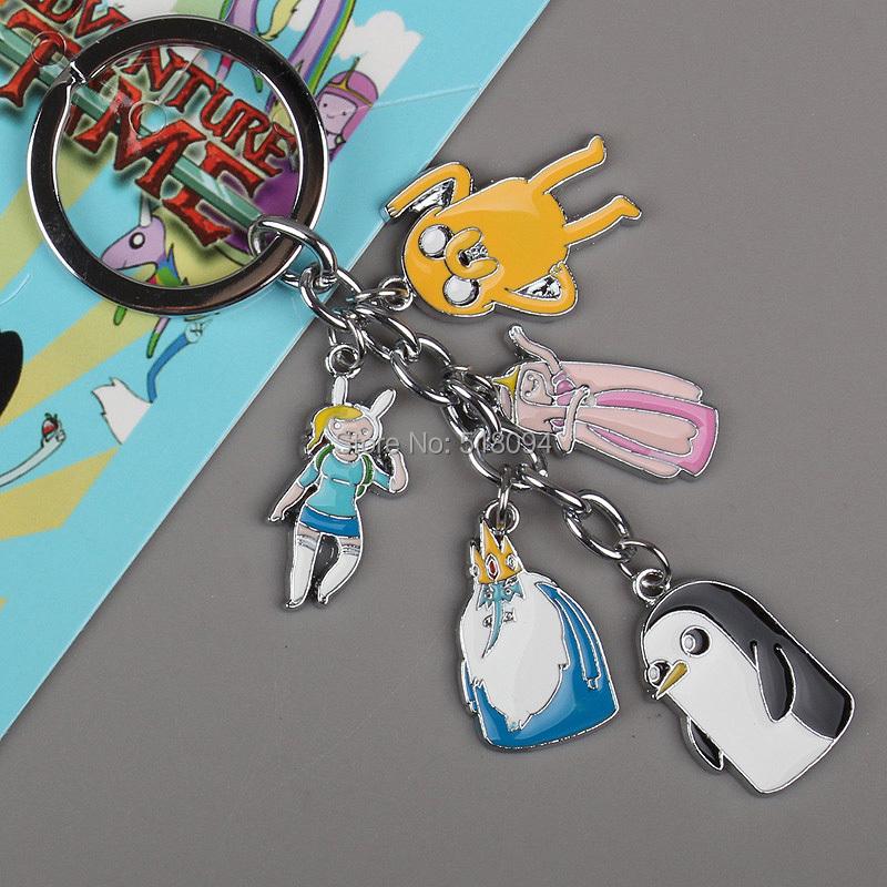 Retail 1pcs Anime Cartoon Adventure Time Finn Jake Keychains Metal Figures Pendants Key Chains 4Styles Free Shipping ANPD1103(China (Mainland))