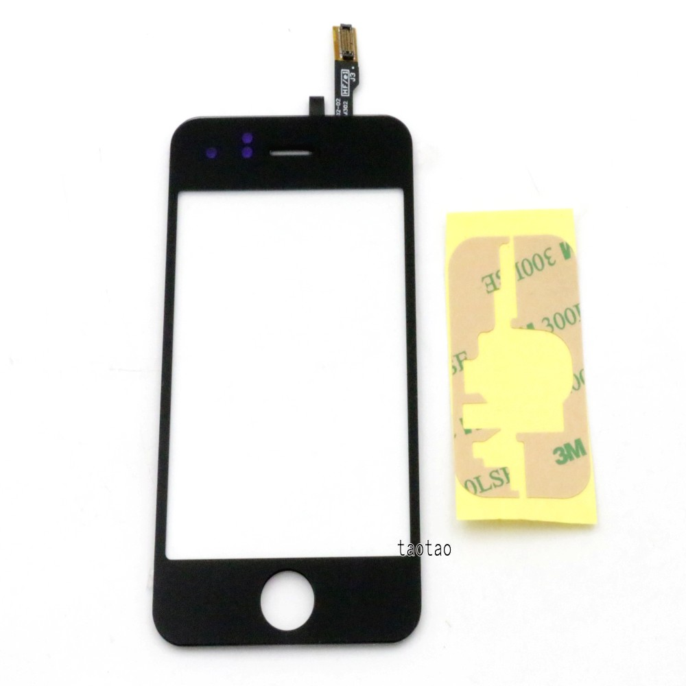 Black for iPhone 3G Touch Screen Glass Digitizer + Adhesive Replacement(China (Mainland))