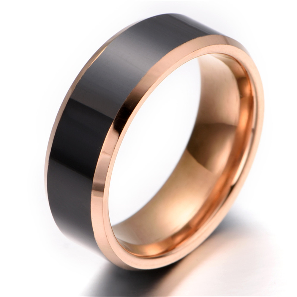 Mens tungsten Ring fort Fit Rose Gold Black KR2267 in Rings from Jewel