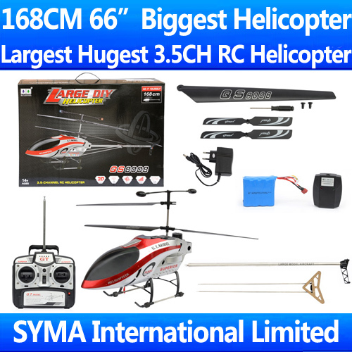 """Largest Hugest Biggest 66"""" 168CM 3.5CH GT QS8008 QS 8008 RTF Gyro Metal Frame Radio Remote Electric Control DIY RC Helicopter(China (Mainland))"""