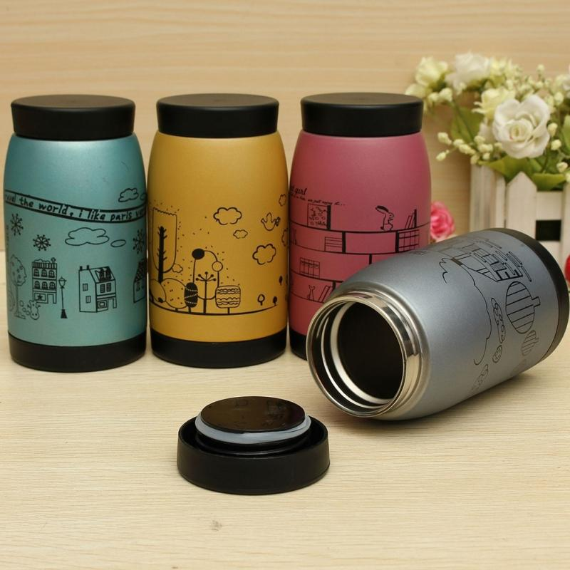250ML High Quality Stainless steel Thermal Vacuum Cartoon Stainless Vacuum Flasks Thermoses Insulated Mug Coffee(China (Mainland))