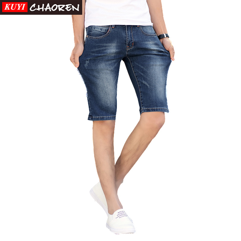 Zipper Fly Short Jeans Male Softener Men's Short Jeans Lightweight Solid Mens Jeans Short Knee Length Jeans(China (Mainland))