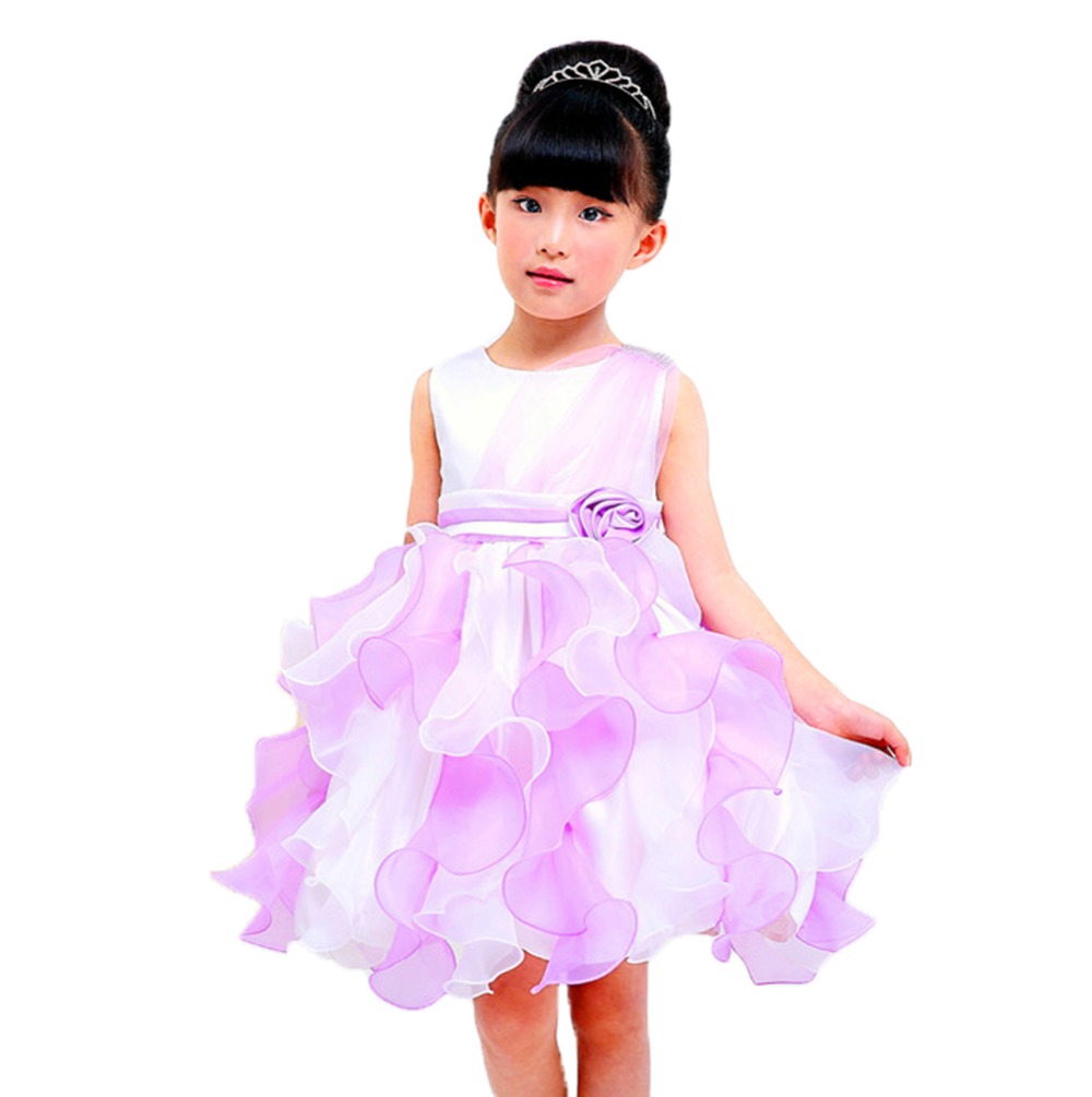 Girls Dresses Wedding Party Clothing Kids Sleeveless Layered Dress Birthday Party Flowers Princess Sweet Dresses<br><br>Aliexpress