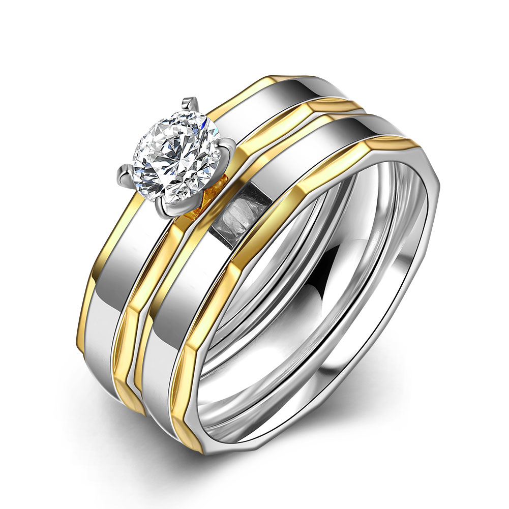 HMJTR067 2016 Fashion 18K Gold Plated Irregular Zircon Ring 316L Titanium Steel Double Rings For Women Party Wedding Jewelry(China (Mainland))