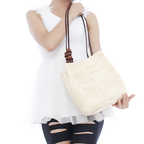 Wholesale Women Retro Wooden Beads Beach Shoulder Bag trend bolsas femininas Straw Woven Bags Tote Handbag EJ641874(China (Mainland))