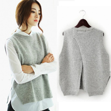 New Women Spring Autumn Cashmere Knitted Sleeveless Sweater Vest Female Casual Loose Black Pink Grey Blue Waistcoat Vest Tops(China (Mainland))