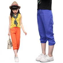Hot New Kids Pants for Girls Summer 2016 Cotton Linen Loose Girls Trousers Solid Casual Ankle-length Pants Children's Clothing