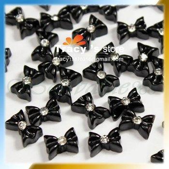 3D Acrylic Black Color Dot Resin Ribbon Flatback Beads Sticker Bowknot Bow Rhinestone Tie Nail Art Tips Decoration 100 pcs/pack
