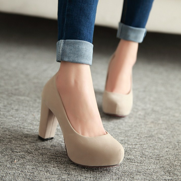 Shoes Woman 2015 Spring Nude Color Platform Thick Heel Solid High
