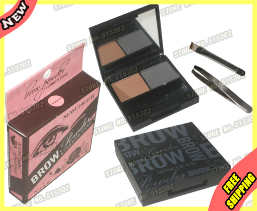 Cosmetic Makeup 2 Color Eyebrow Compact Powder Cake Make up DimGray&Brown 3033#4 Eye brow Wholesale(Concealer Blush Eyeliner 1pc(China (Mainland))