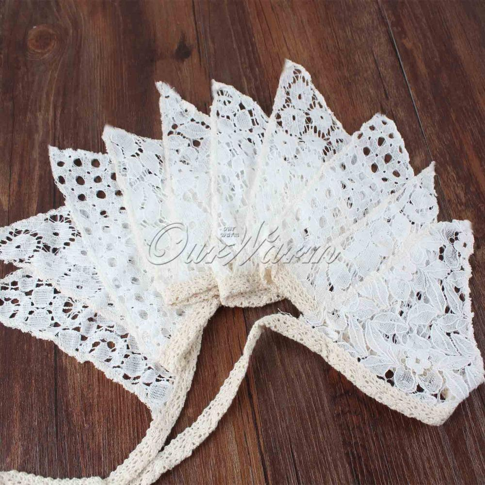 Vintage White 10 Flags-2.1M Cotton Lace Bunting Pennant Banner for Wedding Holiday Party Decoration Supplies(China (Mainland))