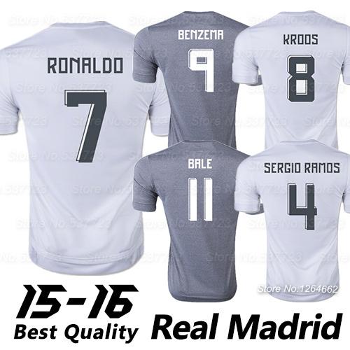 Top AAA Quality Real Madrid Jerseys 2016 Cristiano RONALDO JAMES 15 16 SPAIN Real Madrid Camisetas de futbol Soccer Jersey Shirt(China (Mainland))