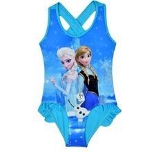 Girls Elsa Anna Swimwear Baby Girl Swimsuit Toddler Bathing Suit Girls one piece Swimwear 2016 Girl Beach Clothing GS001(China (Mainland))