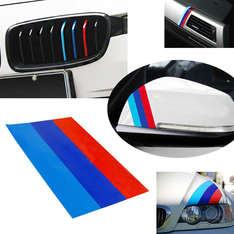 1 10 m colored stripe car stickers decal for bmw exterior or interior decoration grille. Black Bedroom Furniture Sets. Home Design Ideas