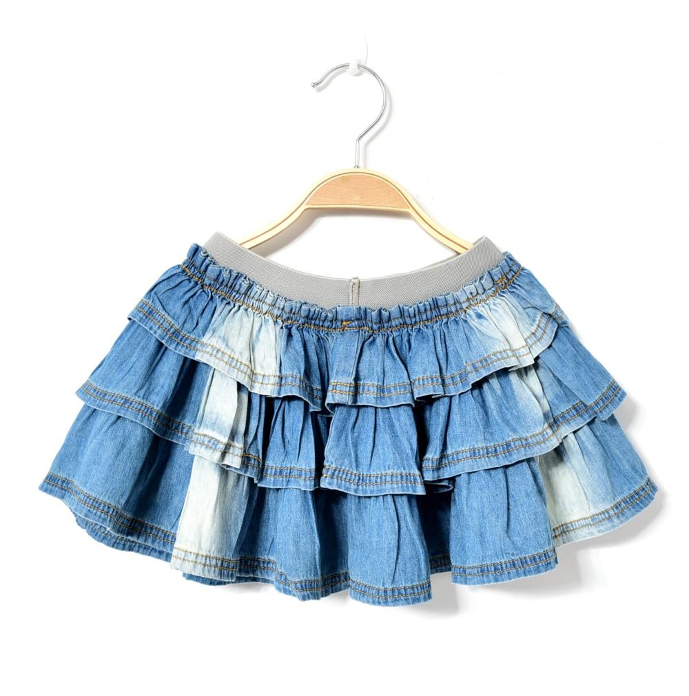 short denim skirts for baby girls jeans mini tutu skirt suits infant children layered schoolgirl summer midi pettiskirt(China (Mainland))