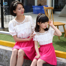 Mother and daughter clothes Mother of font b women b font Lace stitching short sleeved font