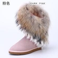 Naturaleza de La Moda de Cuero de Vaca de Piel de Zorro de Mapache Pelo Nueva Mujer Ribete de Borlas de Piel de Conejo Botas de Nieve de invierno Zapatos de la Nieve Para mujeres(China (Mainland))