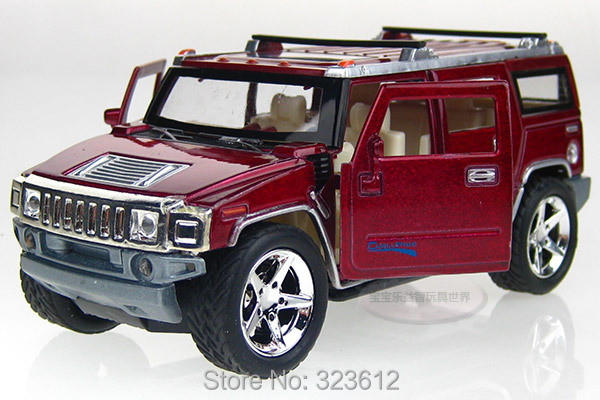 Free shipping 1:32 Hummer H2 Alloy Diecast Vehicle Car Model Toy Collection Sound&Light Red B2250(China (Mainland))
