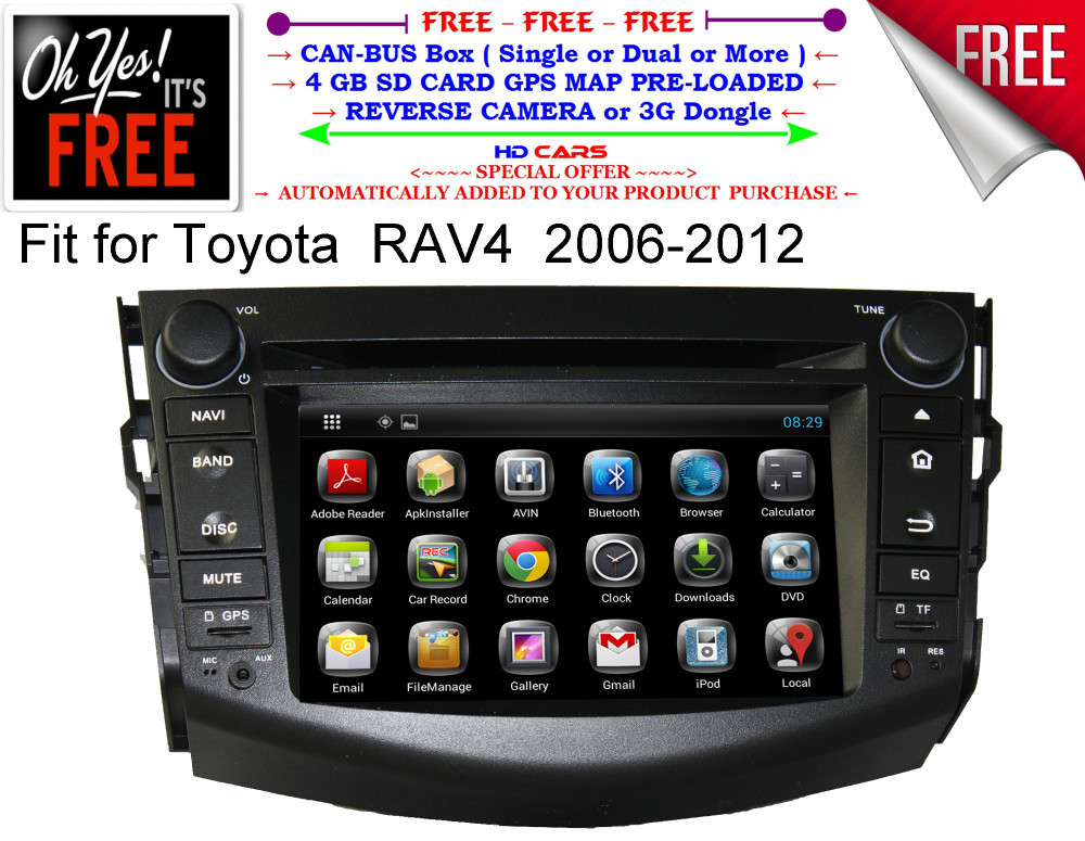 Fit for Toyota Rav4 rav 4(2006-2012) dual core Android 4.4.2 CAR DVD gps navigation player with gift map camera(China (Mainland))