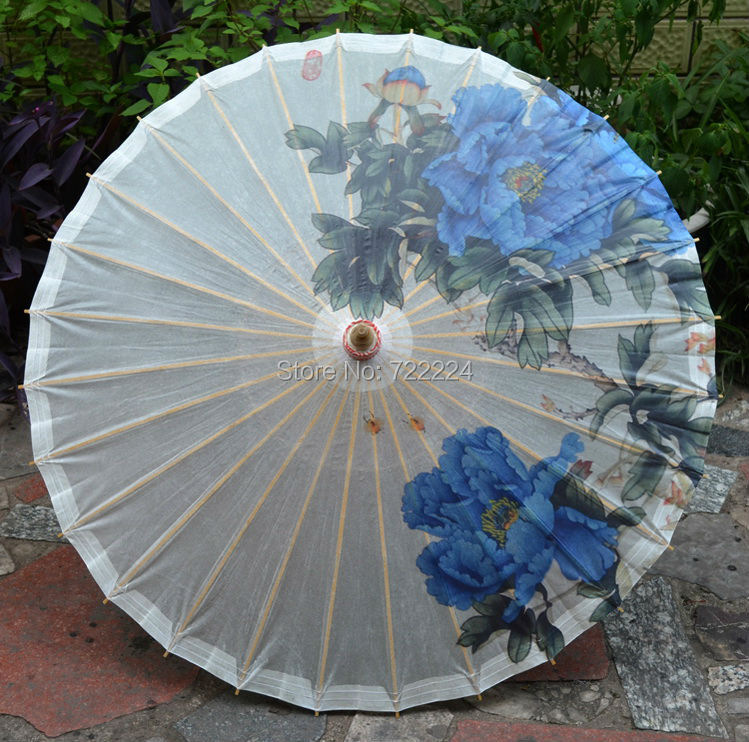 Free shipping dia 84cm chinese craft umbrella antique handmade blue peony sunny and raniy ,collection,props oiled paper umbrella(China (Mainland))