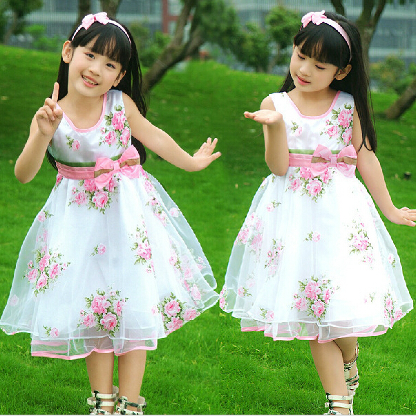 Top Quality 2015 Floral Girls Dress with Bow Sashes Beautiful Girl Dancing Clothing Summer Chiffon Kids Performing Dress(China (Mainland))