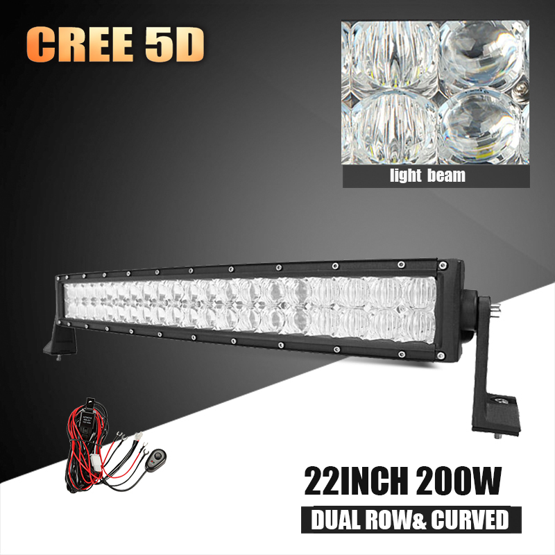 22 inch 200W CREE 5D LED Light Bar Curved Led Work Light Bar Offroad Driving Lamp Combo Beam for 4WD 4x4 Trucks ATV SUV 12v 24v(China (Mainland))