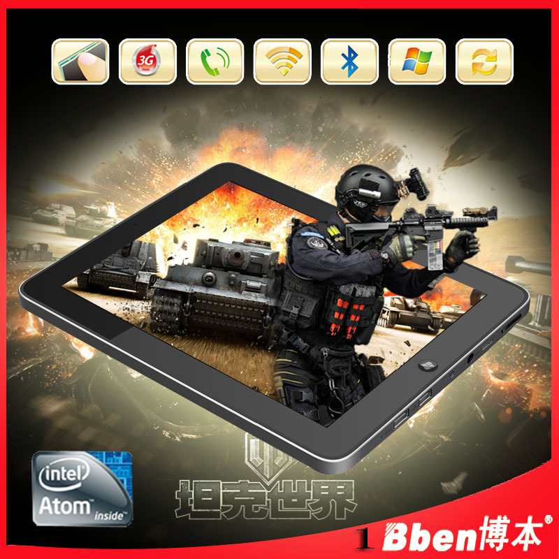 Hot selling Windows tablet pc Win 7 / Win XP N2600 Dual Core 1.66GHz 2GB RAM 16GB/32GB Dual Camera Bluetooth 3G Phone call(China (Mainland))