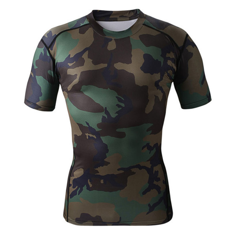 2015 Mens Compression T Shirt Base Layer Compression Tights Camouflage Short Sleeves Active Top Running Workout Basket Football(China (Mainland))