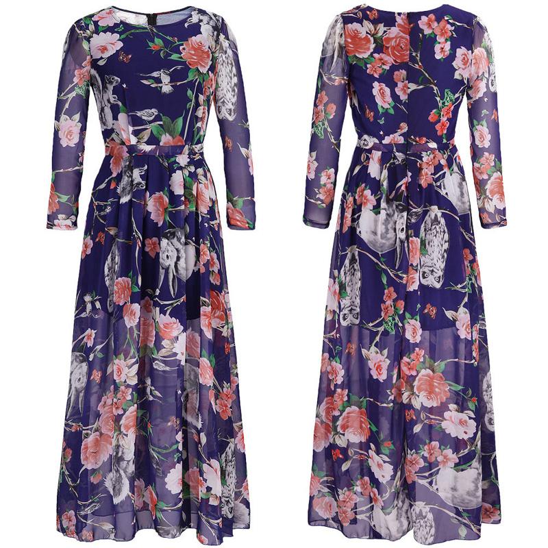 Plus Size XXXL XXXXL 5XL Loose Chiffon Floral Dress Women Dresses 2017 Spring Long Sleeve Casual Boho Maxi Dress Ropa Mujer Q958