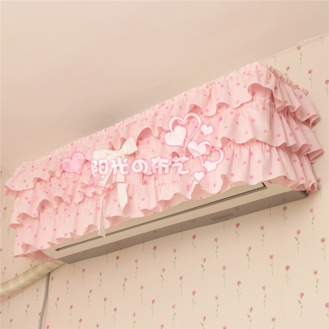 YG Korean pastoral princess cotton hanging air conditioner cover pink dot bow dust cover air condition cover for air conditioner(China (Mainland))