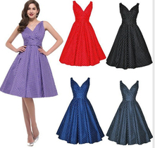 Women's 1950s Halter Style Vintage Polka Dot Swing Dress