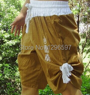 Free shipping cotton brown army green shorts embroidered authentic tradition of ancient Muay Thai Muay Thai Shorts(China (Mainland))