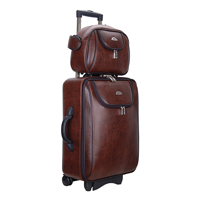 sport bag free shipping women and men travel bag, Two boxes PU leather trolley case, new style, travel luggage, lock, mute,20(China (Mainland))