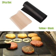 2pcs/Set Reusable No Stick BBQ Grill Mat Sheet Hot Plate Portable Easy Clean OutDoor Cooking Tool(China (Mainland))