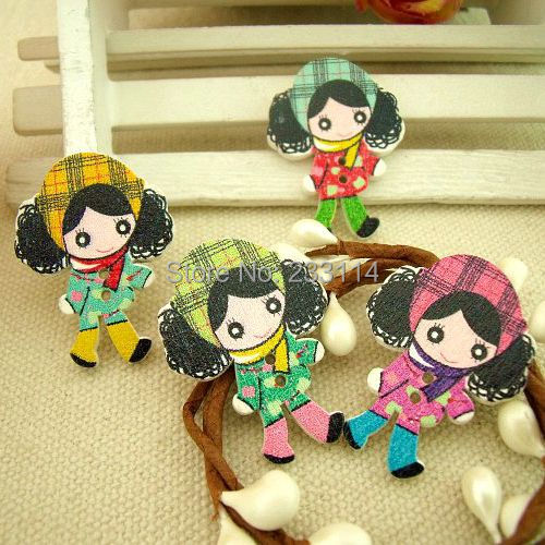 Cartoon decorative wooden button garment accessories Korean style painted wooden buttons girl with curly hair scrapbooking sew(China (Mainland))
