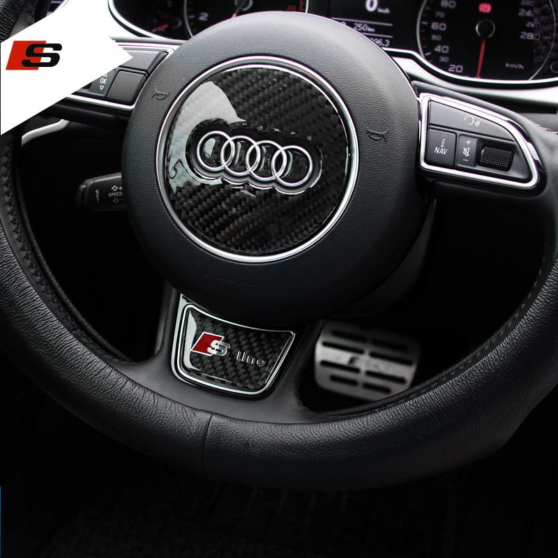 Sline S line Steering Wheel Sticker 3D Carbon Fiber Emblem 3D Car Stickers Car Styling For Audi A1 A3 A4 A5 A6 A7 A8 Q3 Q5 Q7(China (Mainland))
