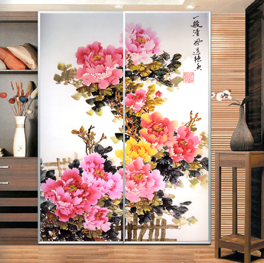 Home Decor Removable peony flower Wall Sticker Art PVC Vinyl DIY Home Decor cabinet Sticker On The Wall Personalized CWPCN110(China (Mainland))