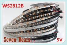 DC5V 1m/5m Black/White PCB 30/60/144 leds/m WS2812IC 30/60/144 LED pixels WS2812B Smart led pixel strip lights(China (Mainland))