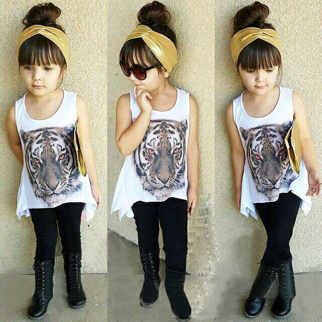 2015 Summer Style Girls Clothes European And American Girls Leopard Suit Dress Pants Free