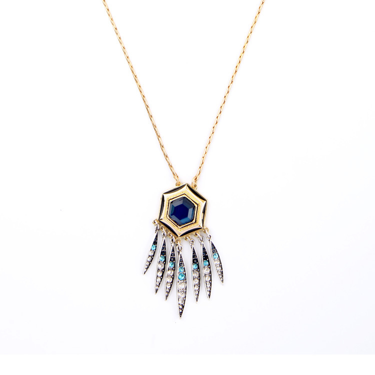 Nicandra Long Pendant Necklace with Deep Blue Glass Hexagon Crystal Fringe Famous Brand Jewelry Bijoux Store Inspired Design(China (Mainland))