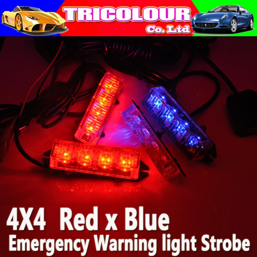 4 LED red/blue car warning strobe flashing light Dash emergency for car trunck Vehicle New arrival #LM42(China (Mainland))