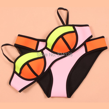 2015 Women's New Neon Swimwears Neoprene Bikini Neoprene Swimsuit Set Underwire Bikini Set XS-XL(China (Mainland))