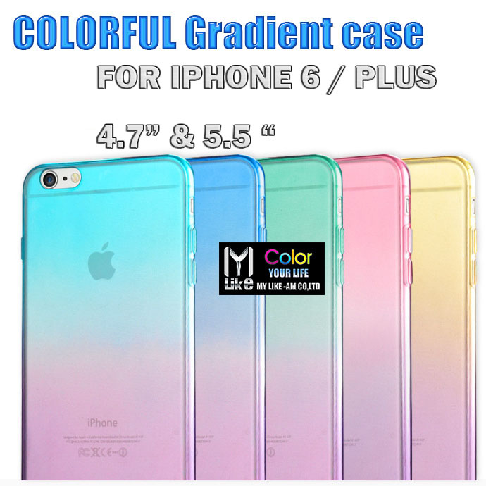 Fashion Gradient TPU Clear Transparent For Apple Iphone 6 / PLUS case 4.7 / 5.5 inch Back Cover Skin Protective Phone Cases(China (Mainland))