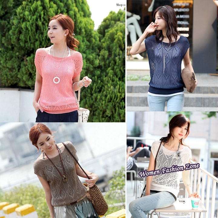 Brand New 2014 Women Loose Hollow-out Short Batwing Sleeve Knit Pullover Jumper Knitwear Sweater Top Blouse sueter feminino ZYQ(China (Mainland))