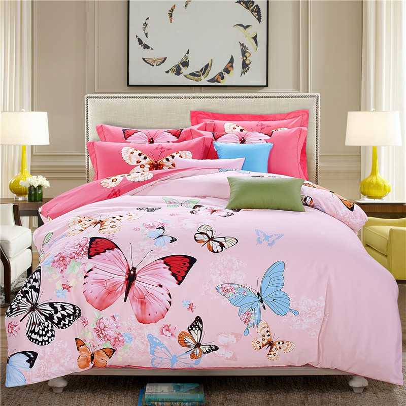 sweet pink butterfly print bedding set for girls home decor Egyptian cotton  bed linens queen king size duvet quilt