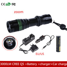 3000 LM Zoom CREEQ5 LED Flashlight Torch Zoom Lamp Light – 3 Mode +18650 4000MAH battery +charger+Car charger