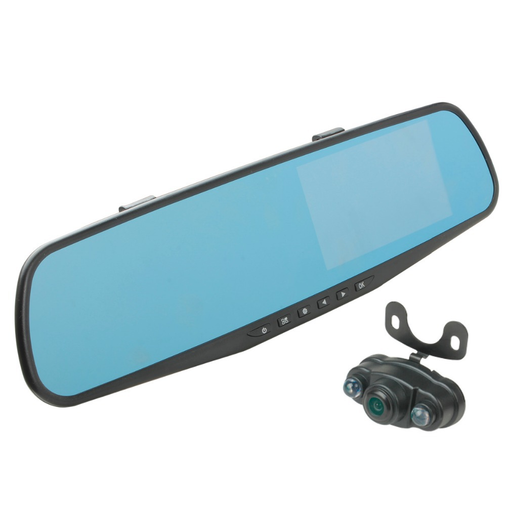 4.3 inch 170 Degree 1080P Full Hd Dual Dual Lens Video Recorder Camera Dash Cam Rearview Mirror Car Dvr Mirror Parking Monitor(China (Mainland))