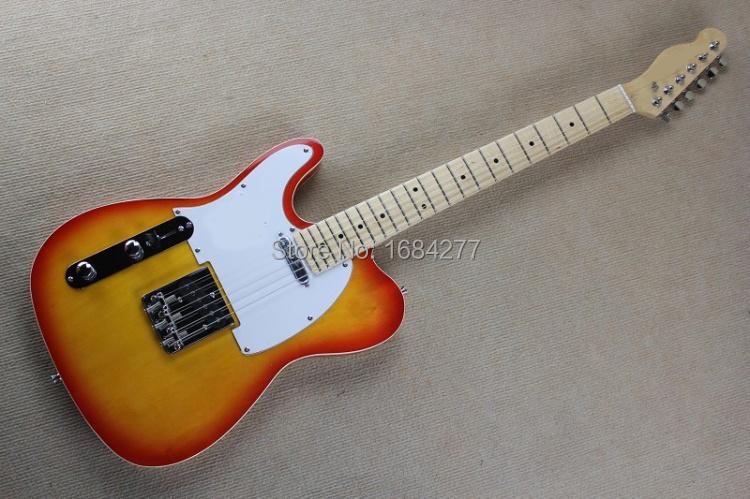 2015 New style, Body binding cover Left Handed, light cherry Burst top & white pickguard, Buy Direct From China, EMS FREE(China (Mainland))