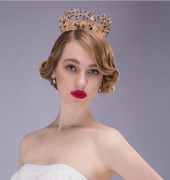 Elegent bridal headdress haircombs gold crown with multi crystal headwear wedding hair accessories womens head decoration combs<br><br>Aliexpress